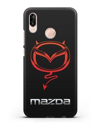 Чехол с логотипом Мазда Дьявол силикон черный для Huawei P20 Lite