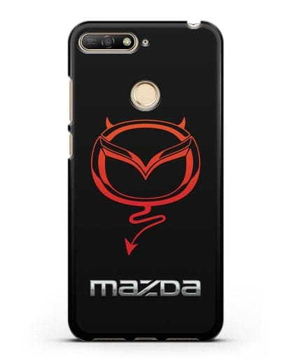 Чехол с логотипом Мазда Дьявол силикон черный для Huawei Y6 Prime 2018