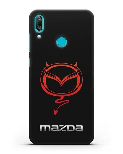 Чехол с логотипом Мазда Дьявол силикон черный для Huawei Y7 2019