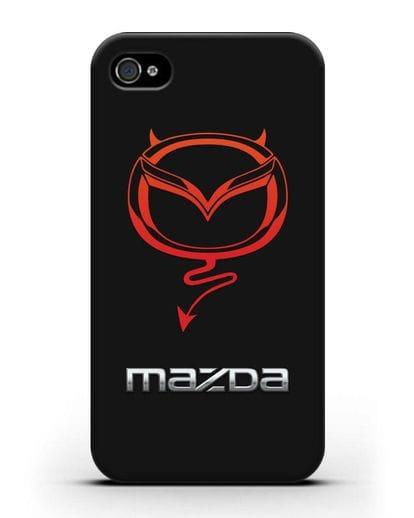 Чехол с логотипом Мазда Дьявол силикон черный для iPhone 4/4s