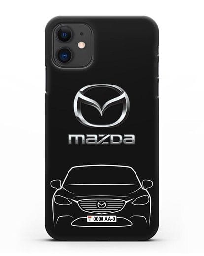 Чехол Mazda с автомобильным номером силикон черный для iPhone 11