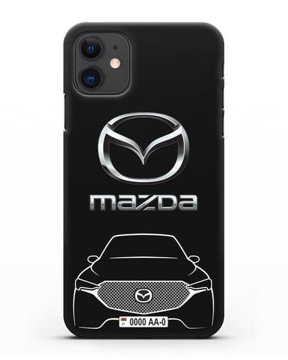 Чехол Mazda с номерным знаком силикон черный для iPhone 11