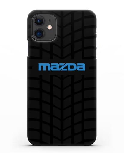 Чехол с логотипом Mazda с протектором шин силикон черный для iPhone 11