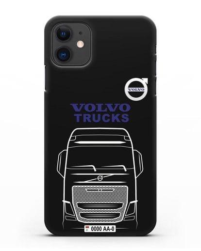 Чехол Volvo Trucks с номерным знаком силикон черный для iPhone 11