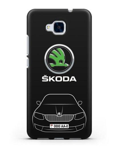 Чехол Skoda с номерным знаком силикон черный для Honor 5C