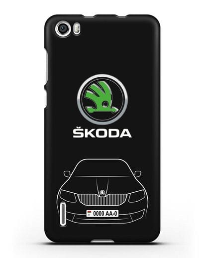 Чехол Skoda с номерным знаком силикон черный для Honor 6