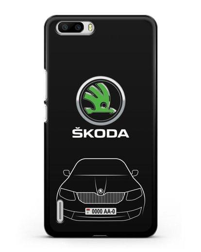 Чехол Skoda с номерным знаком силикон черный для Honor 6 Plus