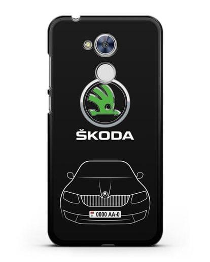 Чехол Skoda с номерным знаком силикон черный для Honor 6A