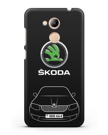 Чехол Skoda с номерным знаком силикон черный для Honor 6C Pro