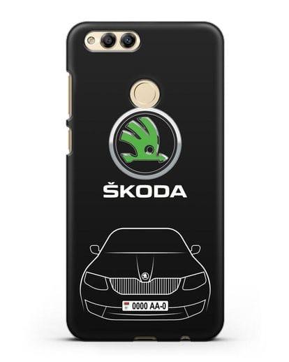 Чехол Skoda с номерным знаком силикон черный для Honor 7X