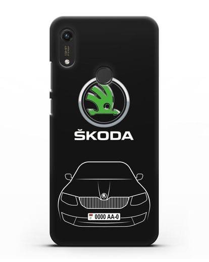 Чехол Skoda с номерным знаком силикон черный для Honor 8A Prime