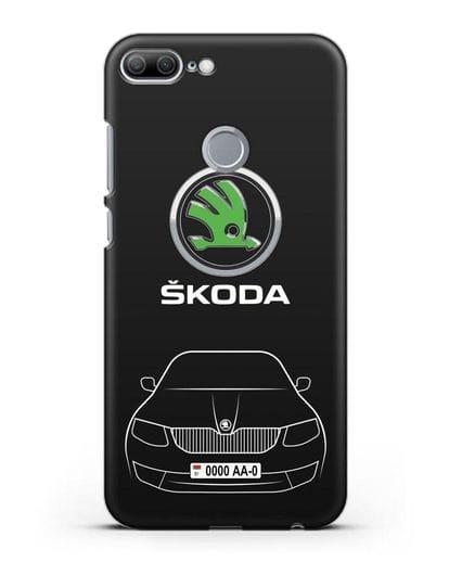 Чехол Skoda с номерным знаком силикон черный для Honor 9 Lite
