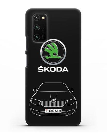 Чехол Skoda с номерным знаком силикон черный для Honor View 30 Pro
