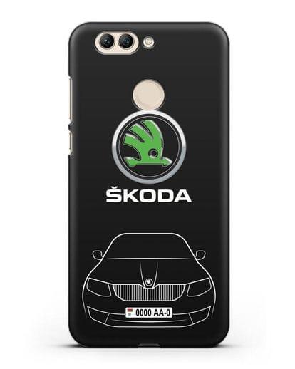 Чехол Skoda с номерным знаком силикон черный для Huawei Nova 2 Plus