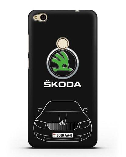 Чехол Skoda с номерным знаком силикон черный для Huawei P8 Lite 2017