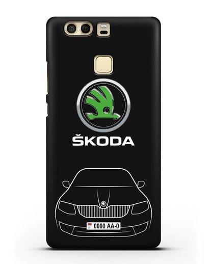 Чехол Skoda с номерным знаком силикон черный для Huawei P9