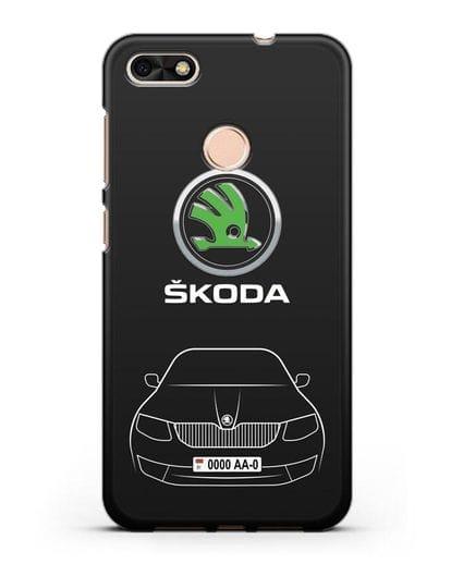 Чехол Skoda с номерным знаком силикон черный для Huawei P9 Lite mini
