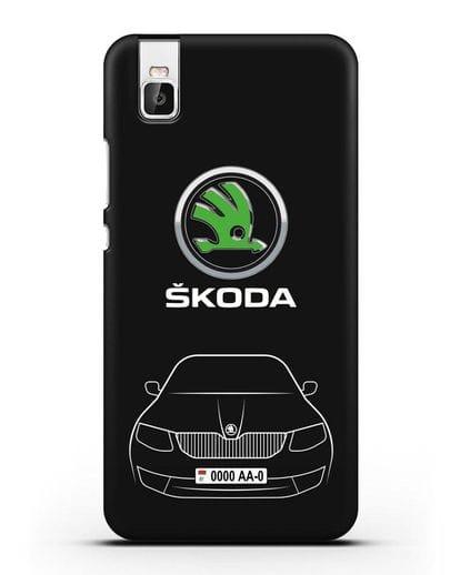 Чехол Skoda с номерным знаком силикон черный для Huawei Shot X