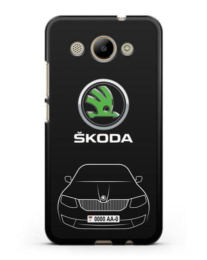 Чехол Skoda с номерным знаком силикон черный для Huawei Y3 2017