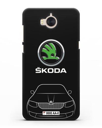Чехол Skoda с номерным знаком силикон черный для Huawei Y5 2017