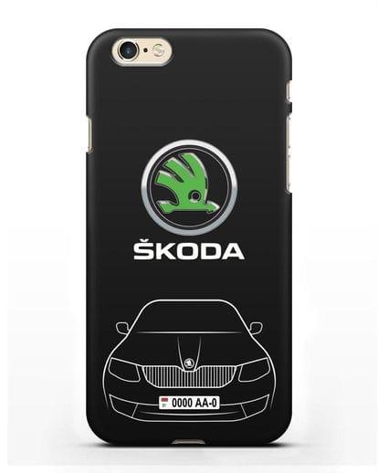 Чехол Skoda с номерным знаком силикон черный для iPhone 6s