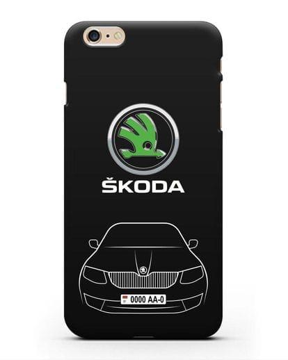 Чехол Skoda с номерным знаком силикон черный для iPhone 6s Plus