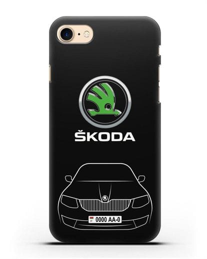 Чехол Skoda с номерным знаком силикон черный для iPhone SE 2020