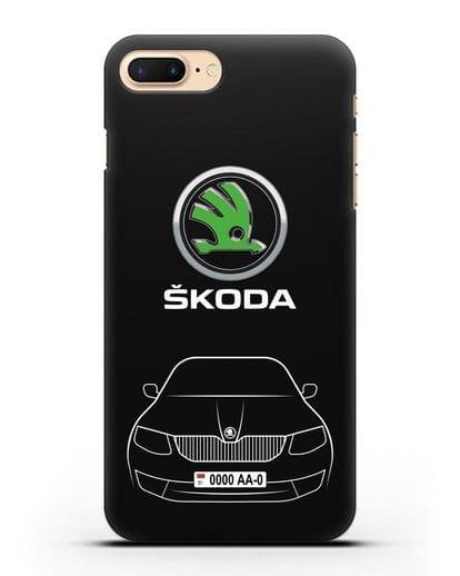 Чехол Skoda с номерным знаком силикон черный для iPhone 8 Plus