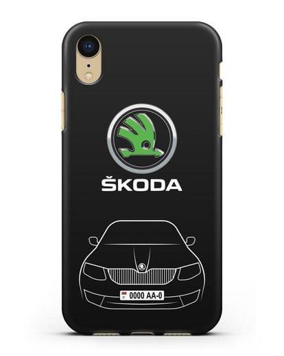 Чехол Skoda с номерным знаком силикон черный для iPhone XR