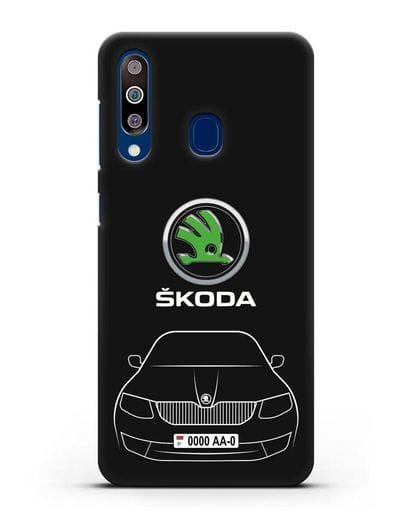 Чехол Skoda с номерным знаком силикон черный для Samsung Galaxy A60 [SM-A606F]