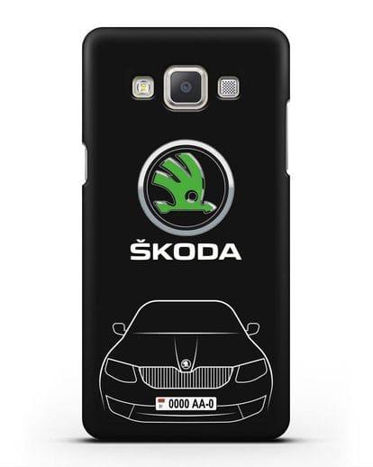 Чехол Skoda с номерным знаком силикон черный для Samsung Galaxy A7 2015 [SM-A700F]