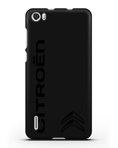Чехол с надписью Citroen и логотипом силикон черный для Honor 6