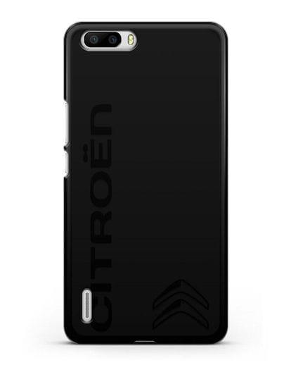 Чехол с надписью Citroen и логотипом силикон черный для Honor 6 Plus