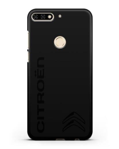 Чехол с надписью Citroen и логотипом силикон черный для Honor 7C