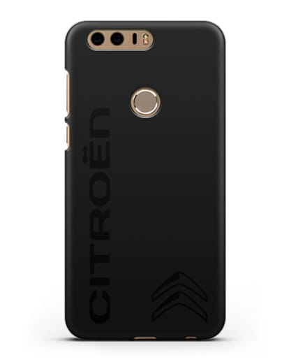 Чехол с надписью Citroen и логотипом силикон черный для Honor 8