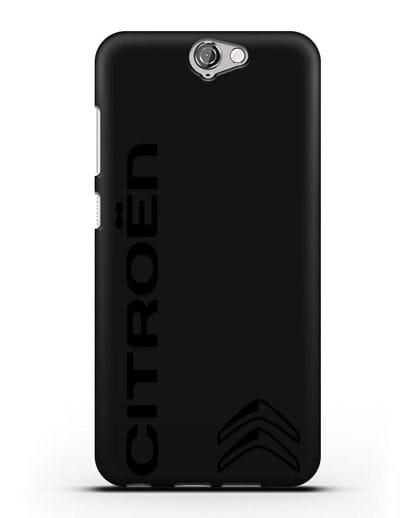Чехол с надписью Citroen и логотипом силикон черный для HTC One A9