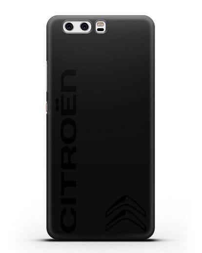 Чехол с надписью Citroen и логотипом силикон черный для Huawei P10