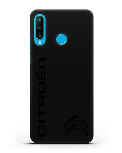 Чехол с надписью Citroen и логотипом силикон черный для Huawei P30 Lite