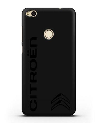 Чехол с надписью Citroen и логотипом силикон черный для Huawei P8 Lite 2017