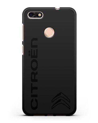 Чехол с надписью Citroen и логотипом силикон черный для Huawei P9 Lite mini