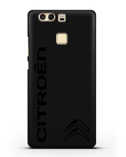 Чехол с надписью Citroen и логотипом силикон черный для Huawei P9 Plus