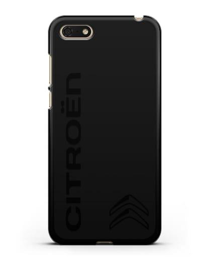 Чехол с надписью Citroen и логотипом силикон черный для Huawei Y5 Prime 2018