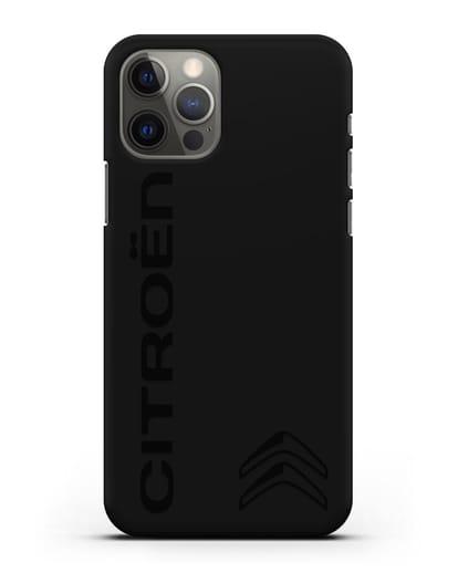 Чехол с надписью Citroen и логотипом силикон черный для iPhone 12 Pro
