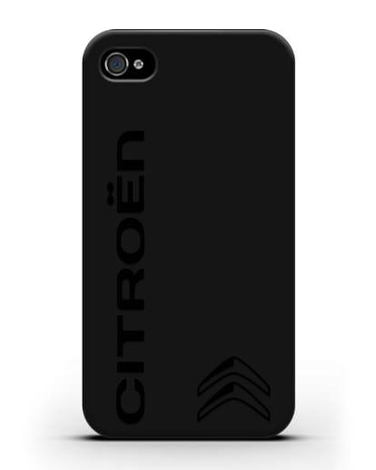 Чехол с надписью Citroen и логотипом силикон черный для iPhone 4/4s