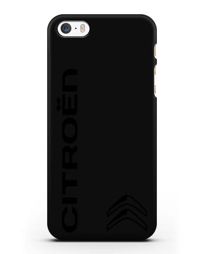 Чехол с надписью Citroen и логотипом силикон черный для iPhone 5/5s/SE