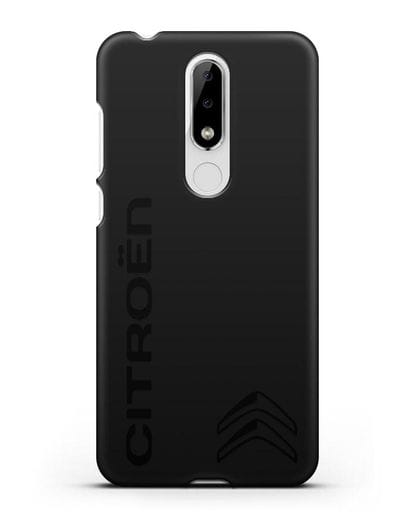 Чехол с надписью Citroen и логотипом силикон черный для Nokia 5.1 plus