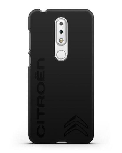 Чехол с надписью Citroen и логотипом силикон черный для Nokia 6.1 plus