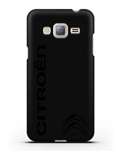 Чехол с надписью Citroen и логотипом силикон черный для Samsung Galaxy J3 2016 [SM-J320F]