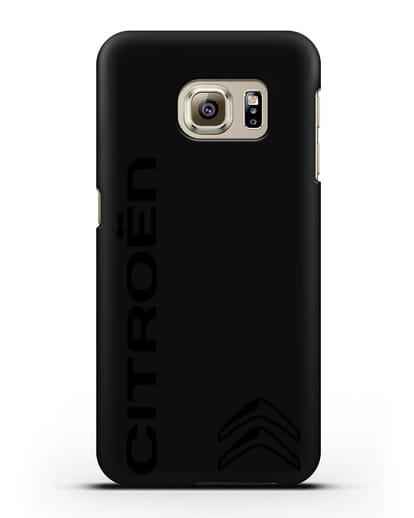 Чехол с надписью Citroen и логотипом силикон черный для Samsung Galaxy S6 Edge [SM-G925F]