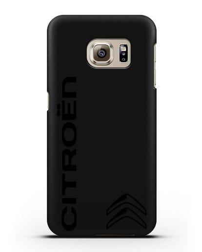 Чехол с надписью Citroen и логотипом силикон черный для Samsung Galaxy S6 Edge Plus [SM-928F]